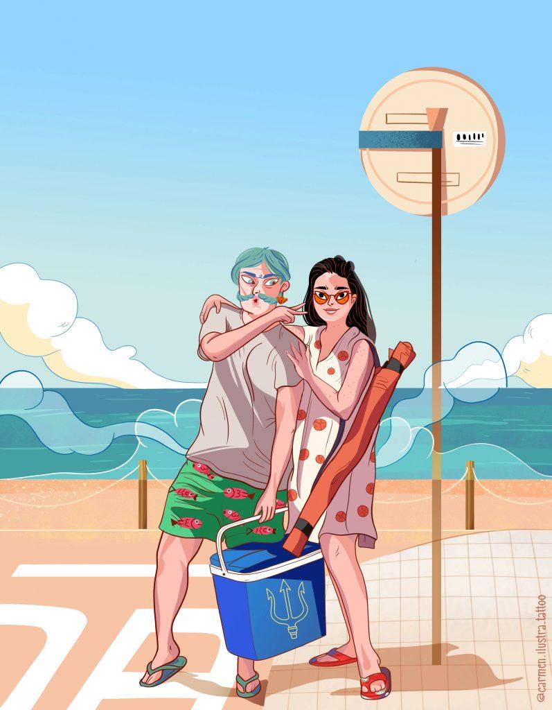 Poseidón a la playa